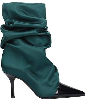 Marc Ellis High Heels Ankle Boots In Green Satin