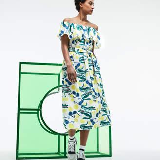 Lacoste Women's Fashion Show MM Collab Print Knit Flounced Bustier Dress