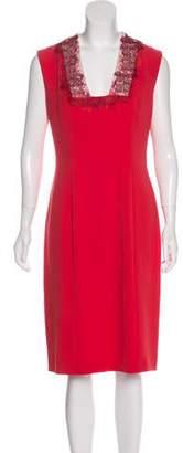 Bottega Veneta Macramé-Trimmed Midi Dress