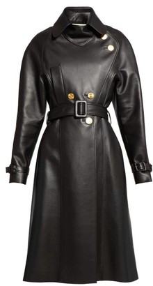 Alexandre Vauthier Belted Double Breasted Leather Coat - Womens - Black