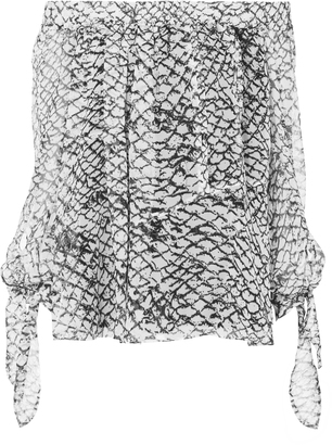 Derek Lam Printed Off Shoulder Tie Sleeve Blouse