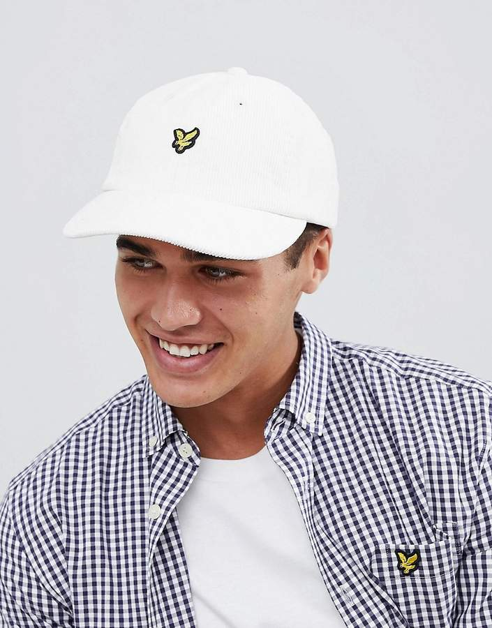 Lyle & Scott Logo Cord Baseball Cap In White