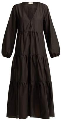 Matteau - The Long Sleeve Tiered Cotton Maxi Dress - Womens - Black