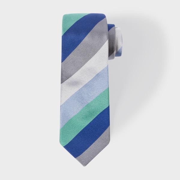Paul SmithMen's Grey Diagonal Stripe Narrow Silk Tie