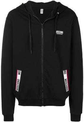 Moschino logo stripe zip hoodie