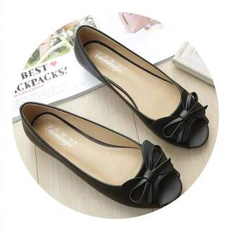 Trendy-Nicer-Genuine Leather Casual Shoes Ladies Sandals Fish Mouth Bow Knot Comfortable Anti Slip Soft Sole Shoes Casual Women Flat Shoes