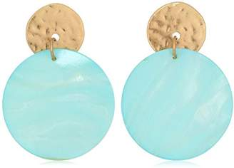 Robert Lee Morris Womens Moonrise Gold and Mother of Pearl Disc Earrings