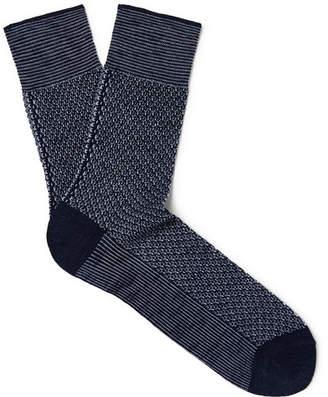 Falke Sensitive Hook Melange Mercerised Cotton-Blend Socks - Men - Navy