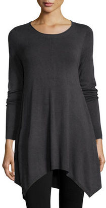 Eileen Fisher Long-Sleeve Easy Tunic with Hanky Hem $298 thestylecure.com