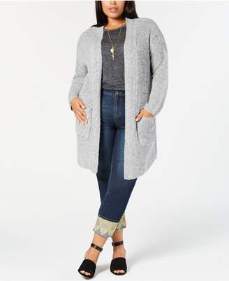 Style&Co. Style & Co Plus Size Tweed Sweater Coat
