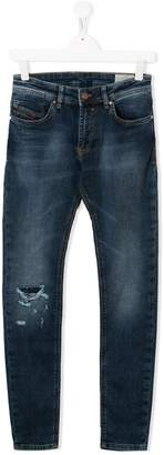 Diesel TEEN stonewashed ripped jeans