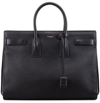 Classic Sac De Jour Leather Satchel Bag, Black