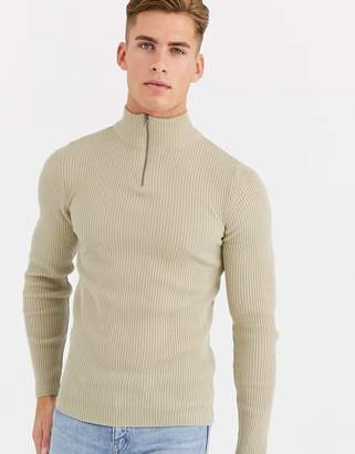 Asos Design DESIGN muscle fit ribbed half zip jumper in oatmeal