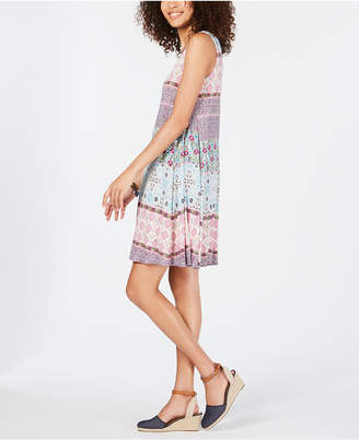 Style&Co. Style & Co Printed Cross-Back Tank Dress