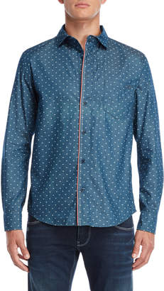 Armani Jeans Blue Regular Fit Logo Shirt