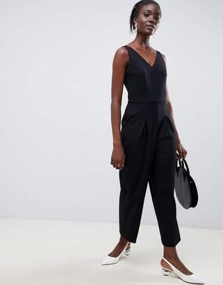 Selected v neck wide leg jumpsuit