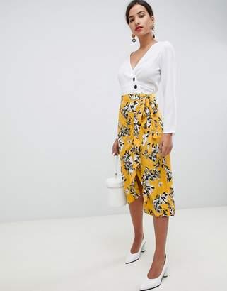 Vila floral wrap skirt