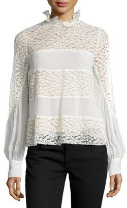 Nanette Lepore Long-Sleeve Mixed-Media Top, Ivory $378 thestylecure.com
