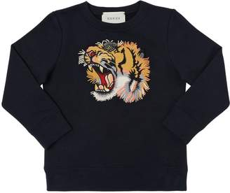 Gucci Tiger Embroidered Cotton Sweatshirt