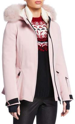 Moncler Bauges Belted Jacket w/ Removable Fur Trim