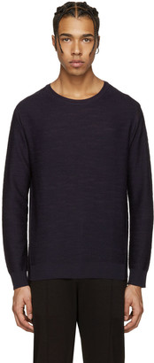 Wooyoungmi Navy Wool Pullover $415 thestylecure.com