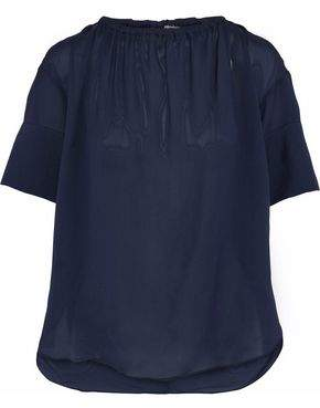 Dagmar House Of Lou Gathered Textured Crepe De Chine Blouse