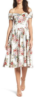 Women's Chetta B Off The Shoulder Midi Dress $98 thestylecure.com