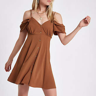 River Island Brown cold shoulder button down dress