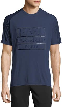 Karl Lagerfeld Paris Men's Crewneck Debossed Logo T-Shirt