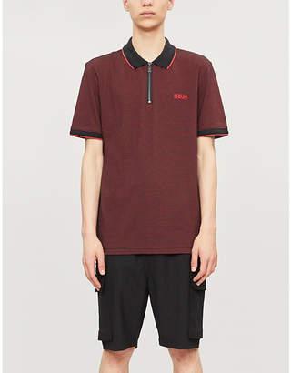 5a297931a HUGO Zip-neck cotton-blend polo shirt