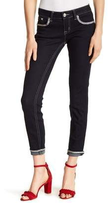 Grace In LA Denim Embroidered Sequin Accent Skinny Jeans