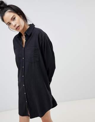 Pull&Bear denim shirt dress in washed black