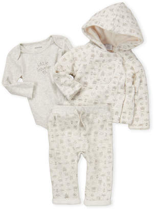 Absorba Newborn Girls) 3-Piece Little Traveler Hoodie, Bodysuit & Sweatpant Set