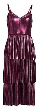 Marchesa Women's Pleated Tiered Metallic Midi Dress