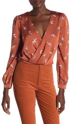 Honeybelle Honey Belle Satin Printed Wrap Crop Top With Back Tie