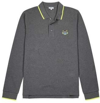 Kenzo Grey Pique Cotton Polo Shirt