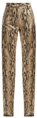 MSGM High Waisted Snake Print Trousers - Womens - Beige