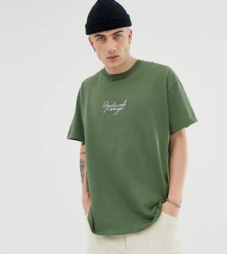 Reclaimed Vintage inspired oversized logo t-shirt in khaki