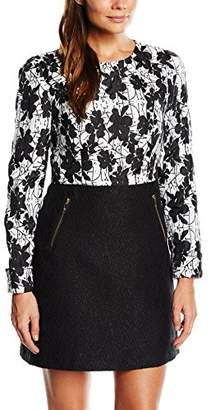 Almost Famous Women's Contrast A-Line Long Sleeve Dress