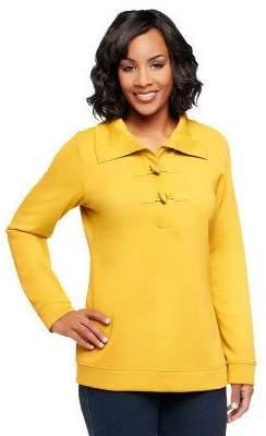Denim & Co. Long Sleeve Sweatshirt with Shawl Collar and Toggles