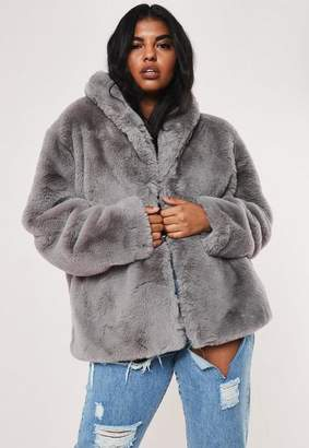 Missguided Plus Size Gray Shawl Collar Faux Fur Coat
