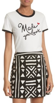 Women's Alice + Olivia Rylyn Embroidered Ringer Tee $125 thestylecure.com