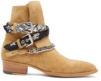 Amiri Bandana Strap Buckled Suede Boots - Mens - Beige
