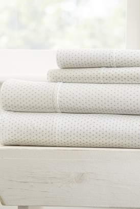 IENJOY HOME Home Spun Premium Ultra Soft 3-Piece Stippled Pattern Twin Bed Sheet Set - Light Gray
