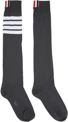 Thom Browne Grey Ribbed Knee-High Four Bar Socks $90 thestylecure.com