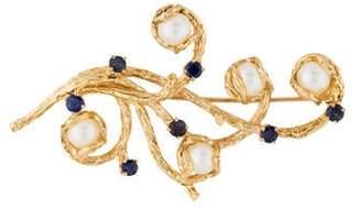 14K Pearl & Sapphire Branch Brooch