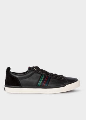 Paul Smith Men's Black 'Seppo' Leather Trainers With 'Cycle Stripe' Stitching