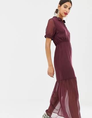 Vero Moda tiered maxi tie waist dress