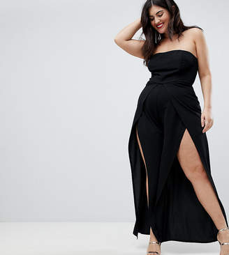 Bandeau Loose Fit Metallic Detailed Jumpsuit - Glitter Club L Plus Inexpensive Cheap Price rZOn3