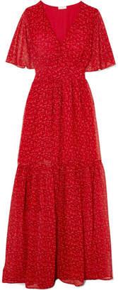 Eywasouls Malibu - Maria Tiered Floral-print Chiffon Maxi Dress